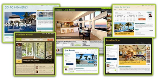 Collage of a few website templates offered for FREE by Rentini