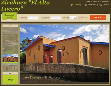 Website for El Alto Lucerto vacation rental in Mexico