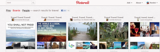 Pinterest travel boards