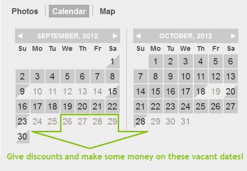 Fill vacant dates on your calendar