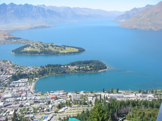 Lake Wakatipu is located in New Zealand. Tourism has increased since the Lord of the Rings