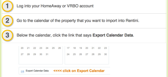 Login to HomeAway.com or VRBO.com and find Export Calendar Data