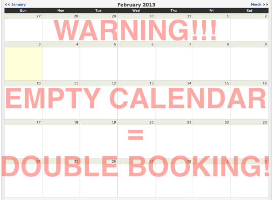 empty calendar leads to double booking
