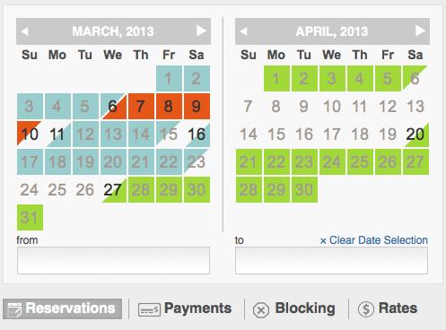 Vacation rental availability calendar reservation blocking