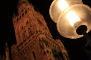 Germany-Munich-street-lights-church-old-town