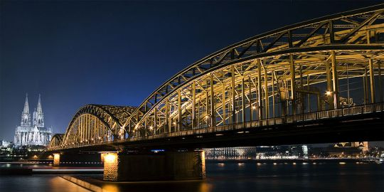 Koeln Cologne Germany City Bridge Night Lights
