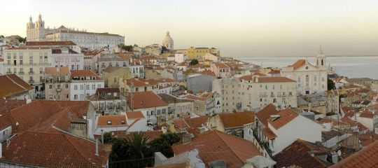 Alfama Lisbon roof tops on hill side