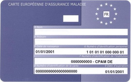 Sample of the EHIC - european health insurance card