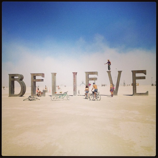 Burning Man BELIEVE instagram photo