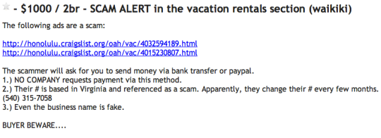 Craigslist Scam Alert about Waikiki Listings